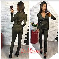 Костюм женский из замши пиджак на молнии и брюки разные цвета Dslip360