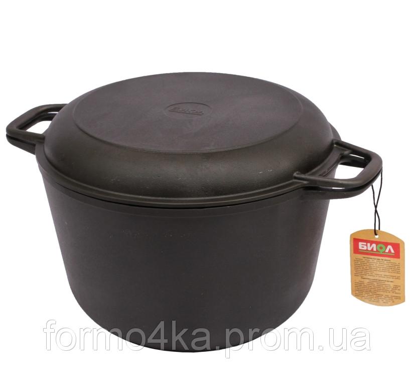 Кастрюля чугунная 4 литра с крышкой сковородкой
