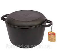 Кастрюля чугунная 4 литра с крышкой сковородкой, фото 1