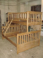 Двухъярусная трехспальная кровать Рита из массива ясеня, Орион