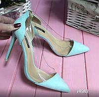 Туфли женские силикон + эко-замш голубые