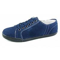 Мокасины женские синие замшевые на шнуровке «Jeans Style», Синий, 41