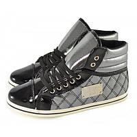 Ботиночки сникерсы на шнуровке Fashion shoes Польша, Серебряный, 41