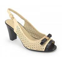 Босоножки на широком каблуке «Блонда» бежевые, Бежевый, 39 , фото 1