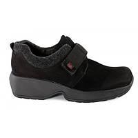 Ботинки женские натуральная замша Jela на липучке Германия черные, Черный, 39
