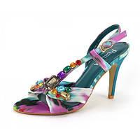 Босоножки на шпильке с камнями фиолетовые Ferlisa, Разноцветный, 39