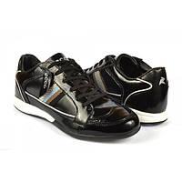 Кроссовки стильные мужские лаковые черного цвета, Черный, 45 , фото 1