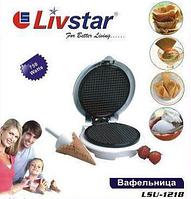 Вафельница круглая Livstar LSU-1218, 19 см, индикаторы работы, термостат, антипригарное покрытие, 750 Вт