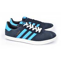Кроссовки мужские замшевые синие Adidas Gazelle, Синий, 46 , фото 1