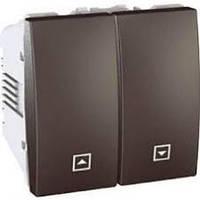Выключатель кнопка управления жалюзи 2-модульный Schneider Серия: Unica Цвет: графит