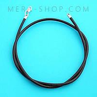 Кожаный шнурок черный (3,0 мм) с серебряным замком