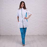 Медицинский котоновый костюм на молнии Леся