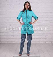 Котоновый медицинский костюм на молнии Леся