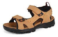 Сандалии мужские кожаные песочные на липучках Reastep Турция, Бежевый, 40 , фото 1