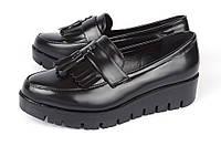 Туфли лоуферы женские черные на платформе Jimmy с кисточками, Черный, 36 , фото 1
