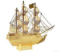 3D металлический конструктор Пиратский корабль (золото) Black Pearl, фото 1