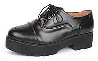 Ботинки лоферы женские черные на каблуке со шнуровкой Mallanee, Черный, 37 , фото 1