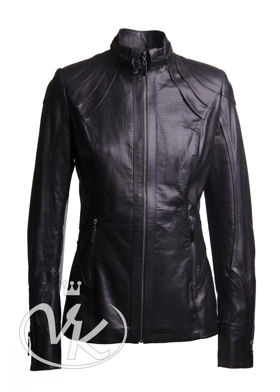 Кожаная куртка с перфорацией короткая черная женская 44 размера (Арт. C201)