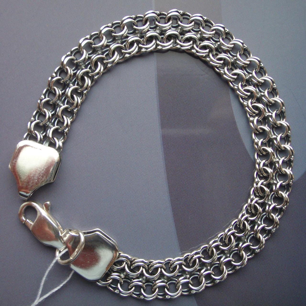 Серебряный браслет, 195мм, 12 грамм, плетение двойной Бисмарк