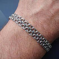 Серебряный браслет, 195мм, 12 грамм, плетение двойной Бисмарк, фото 3
