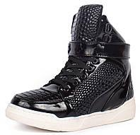 Ботинки слипоны женские лакированные принт завышенные Sneakersy, Черный, 37 , фото 1