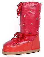 Дутики женские луноходы термо Moon Boots Red самая теплая обувь, Красный, 36 , фото 1
