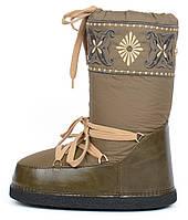 Дутики женские луноходы термо Moon Boots Green самая теплая обувь, Хаки, 36