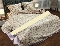 Качественное постельное белье вензель на молочном фоне евро