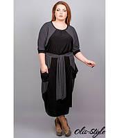 Черное женское платье большого размера Соната ТМ Olis-Style 54-64 размеры
