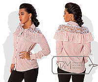 Женская блуза в полоску со вставками гипюра