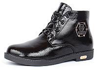 Ботинки женские лакированные черные Ricci на молнии и шнуровке, Черный, 36 , фото 1