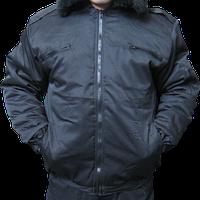 Курточка утепленная Пилот, черная с капюшоном и меховым воротником