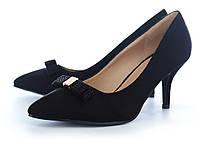 Туфли лодочки женские черные на каблуке с бантом Roger Vivier, Черный, 39 , фото 1