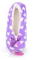 Тапочки женские домашние балетки Любимчики фиолетовые в сердцах, Фиолетовый, 38-41