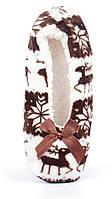 Тапочки женские домашние балетки Любимчики коричневые с оленями, Коричневый, 38-41