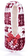 Тапочки женские домашние балетки Любимчики бордовые с оленями, Бордовый, 38-41 , фото 1
