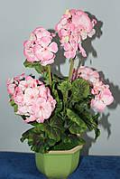 Герань(Калачик) розовая  искусственная в вазоне