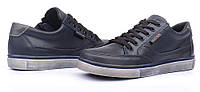 Кеды слипоны кожаные синие Ecco на шнуровке и молнии, Синий, 32
