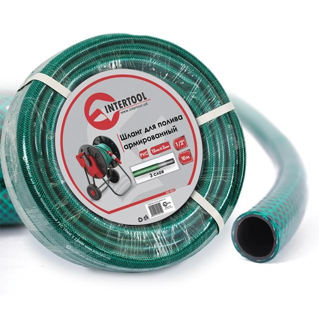 """Шланг для полива 3-х слойный 1/2"""", 10м, армированный PVC INTERTOOL GE-4021"""