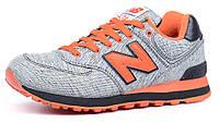 Кроссовки New Balance ML574GBR текстильные серые с оранжевым, Серый, 38