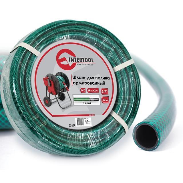 """Шланг для полива 3-х слойный 3/4"""", 50м, армированный PVC INTERTOOL GE-4046"""