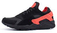 Кроссовки мужские кожаные Nike Huarache  Black and Red черные с красным, Черный, 41 , фото 1