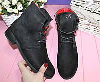 Ботинки черные широкое голинище на шнурке эко замш