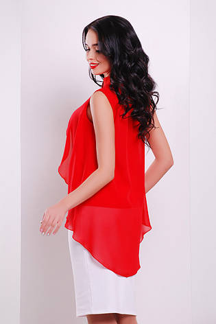 Шифоновая красная блузка без рукавов блуза Санта-Круз б/р, фото 2