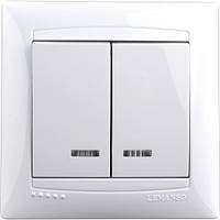 Выключатель 2-й + LED подсветка  LEMANSO Сакура