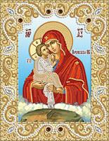 Ткань с рисунком для вышивания бисером Почаевская икона Божией Матери