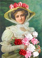 Набор для вышивания атласными ленточками Дама с букетом роз