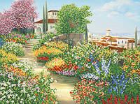 Ткань с рисунком для вышивания бисером Солнце в саду