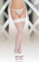 Чулки - Stockings 5514, Plus Size, white, XXXL