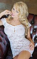 Кружевной белый пеньюар  Veronica M/L 180127
